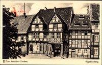Quedlinburg im Harz, Blick auf klassische Fachwerkhäuser, Klopstockhaus