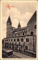 Gernrode im Harz, Blick auf die Stiftskirche St. Cyriaci, Kreuzgangseite