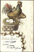 Glückwunsch Ostern, Hühnernest, Ostereier, Hahn, Weidenkätzchen