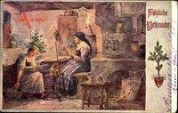 Frohe Weihnachten, Spinnrad, Wohnstube, Alte Frau, Ofen, Katze