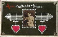 Steiden Passepartout Duftende Grüße, Frauenportrait, Zeppelin