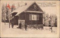 Carlsfeld Eibenstock im Erzgebirge, Skihütte, Ski Klub im Winter