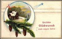 Glückwunsch Neujahr, Tannenzweige, Sternschnuppe, Winteridyll