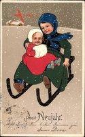 Glückwunsch Neujahr, Zwei Kinder auf einem Schlitten