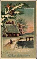 Frohe Weihnachten, Winteridyll, Schnee, Dämmerung