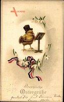 Glückwunsch Ostern, Küken spielt auf einer Tuba, Patriotik