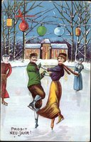 Glückwunsch Neujahr, Eisläufer, Paar, Laternen, Winter