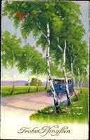 Glückwunsch Pfingsten, Bus fährt über das Land, Birken, Allee