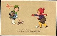Frohe Weihnachten, Zwei Kinder, Schoßhund, Muff, Winterkleider, Schneebälle