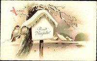 Glückwunsch Neujahr, Zwei Vögel auf einem Ast, Schnee, Teich