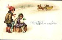 Glückwunsch Neujahr, Kinder mit Reisekoffer, Pferdeschlitten, Schnee