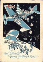 Frohe Weihnachten, Weihnachtsmann, Flugzeug, Pakete, Soldaten