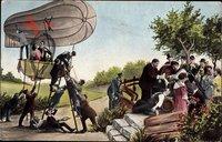 Zeppelin, Fahrgäste, Leiter, Fotomontage, Bier