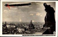 Dresden, LZ 127, Graf Zeppelin über der Stadt, Hahn 4930