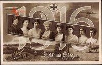 Glückwunsch Neujahr, Heil und Sieg, Kaiserin, Prinzessinnen, Jahreszahl 1916