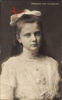 Prinzessin Alix von Sachsen, Portrait, Schleife im Haar