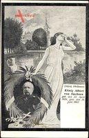 Passepartout König Albert von Sachsen, Todestag, 19 Juni 1902, Trauer
