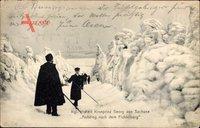 Kronprinz Georg von Sachsen, Aufstieg nach dem Fichtelberg, Winter, Schnee
