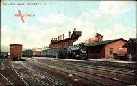 Hornell New York, Erie Depot, Bahnhof, Gleisseite, Dampflok
