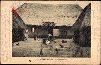 Belgisch Kongo Zaire, Basse Cour, Bauernhof, Haus mit Strohdach, Hühner