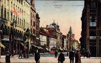 Praha Prag, Prikopy, Straßenpartie, Passanten, Straßenbahn