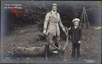 Kronprinz Wilhelm von Preussen, Prinz Wilhelm, Erjagter Hirsch