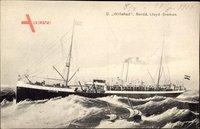 Dampfschiff Willehad, Norddeutscher Lloyd Bremen, Hochsee, Sturm