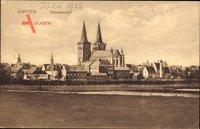 Xanten am Niederrhein, Totalansicht der Ortschaft, Kirche, Häuser