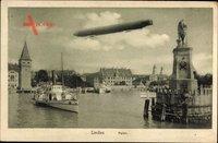 Lindau im Bodensee Schwaben, Partie am Hafen, Zeppelin, Dampfer