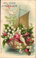 Glückwunsch Neujahr, Weiße Tauben, Blumen, Jahreszahl 1909