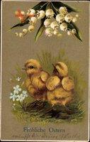 Glückwunsch Ostern, Küken, Glockenblumen