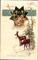 Frohe Weihnachten, Jesuskind, Rehe, Stern, Winter