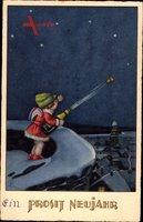 Glückwunsch Neujahr, Engel macht Sektflasche auf, Sternenhimmel