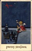 Glückwunsch Neujahr, Engel trinkt Sekt, Sternenhimmel, Meissner Buch