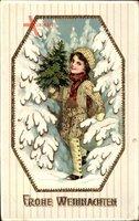 Frohe Weihnachten, Junge mit Tannenbaum, Winteridyll