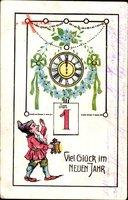 Glückwunsch Neujahr, Kalender, Uhr, Mitternacht, Zwerg, Jugendstil