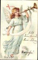 Frohe Weihnachten, Engel läutet die Trompete