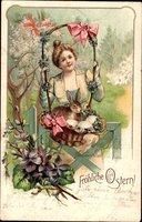 Glückwunsch Ostern, Osterhase, Ostereier, Frau mit Korb