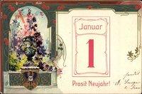 Wappen Glückwunsch Neujahr, Kalenderblatt, 1 Januar