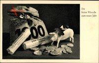 Glückwunsch Neujahr, Geldsack, Münzen, Schwein, 200 Reichsmark