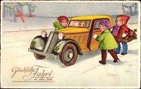 Glückwunsch Neujahr, Autofahrt, Blumen, Kleeblätter, BNK 3963