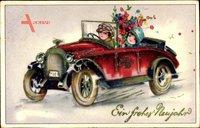 Glückwunsch Neujahr, Autofahrt, Blumenstrauß, Kitsch