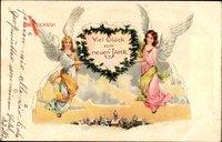 Glückwunsch Neujahr, Zwei Engel halten Herz hoch, Winteridyll