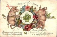 Glückwunsch Neujahr, Zwei Schweine, Kleeblatt, Kitsch
