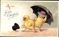 Glückwunsch Ostern, Zwei Küken unter dem Regenschirm, Zylinder