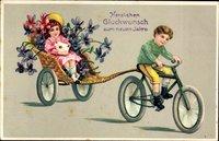 Glückwunsch Neujahr, Zwei Kinder fahren Fahrrad