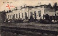 Deutsche Soldaten posieren auf der Gleisseite des Bahnhofs von Turyjsk Ukraine um 1916
