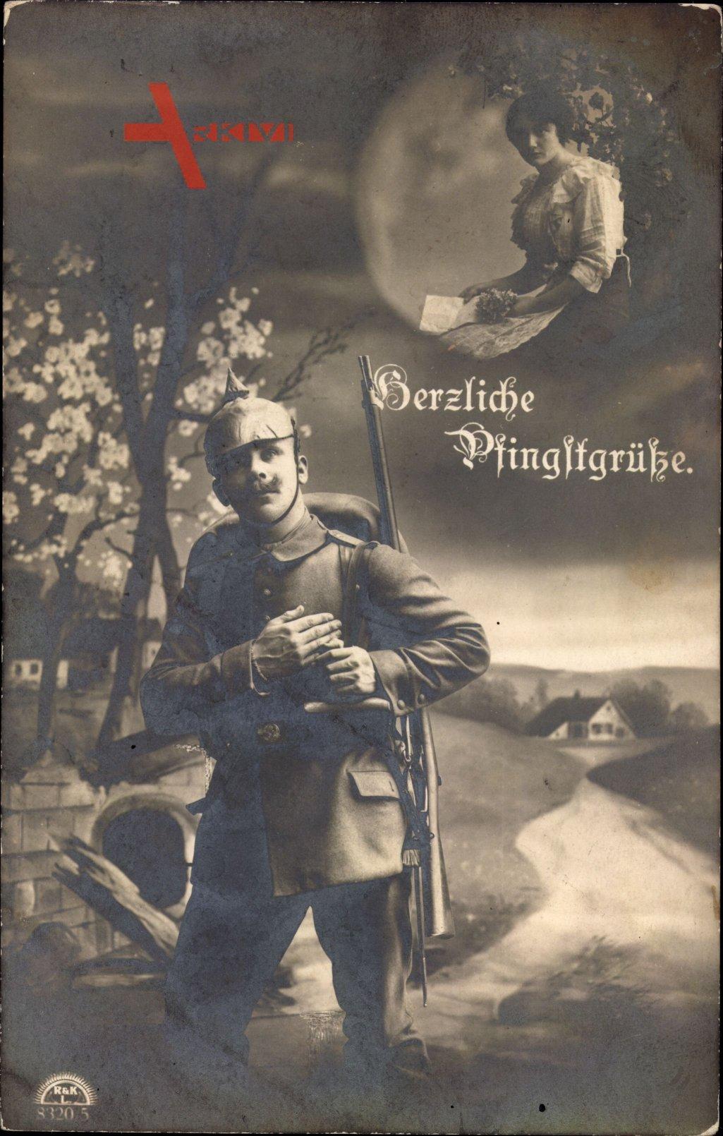 Glückwunsch Pfingsten, Soldat denkt an seine Geliebte, RKL 8320 5