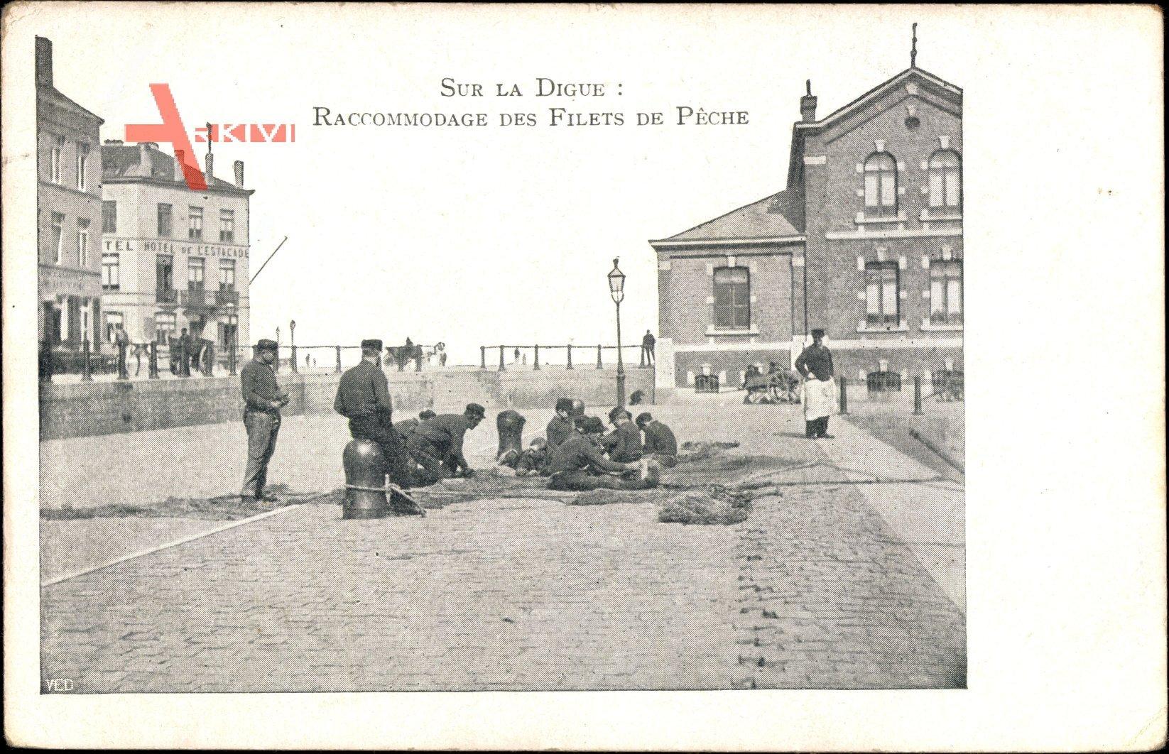 Sur la Digue, Raccommodage des Filets de Pêche, Fischer bei der Arbeit
