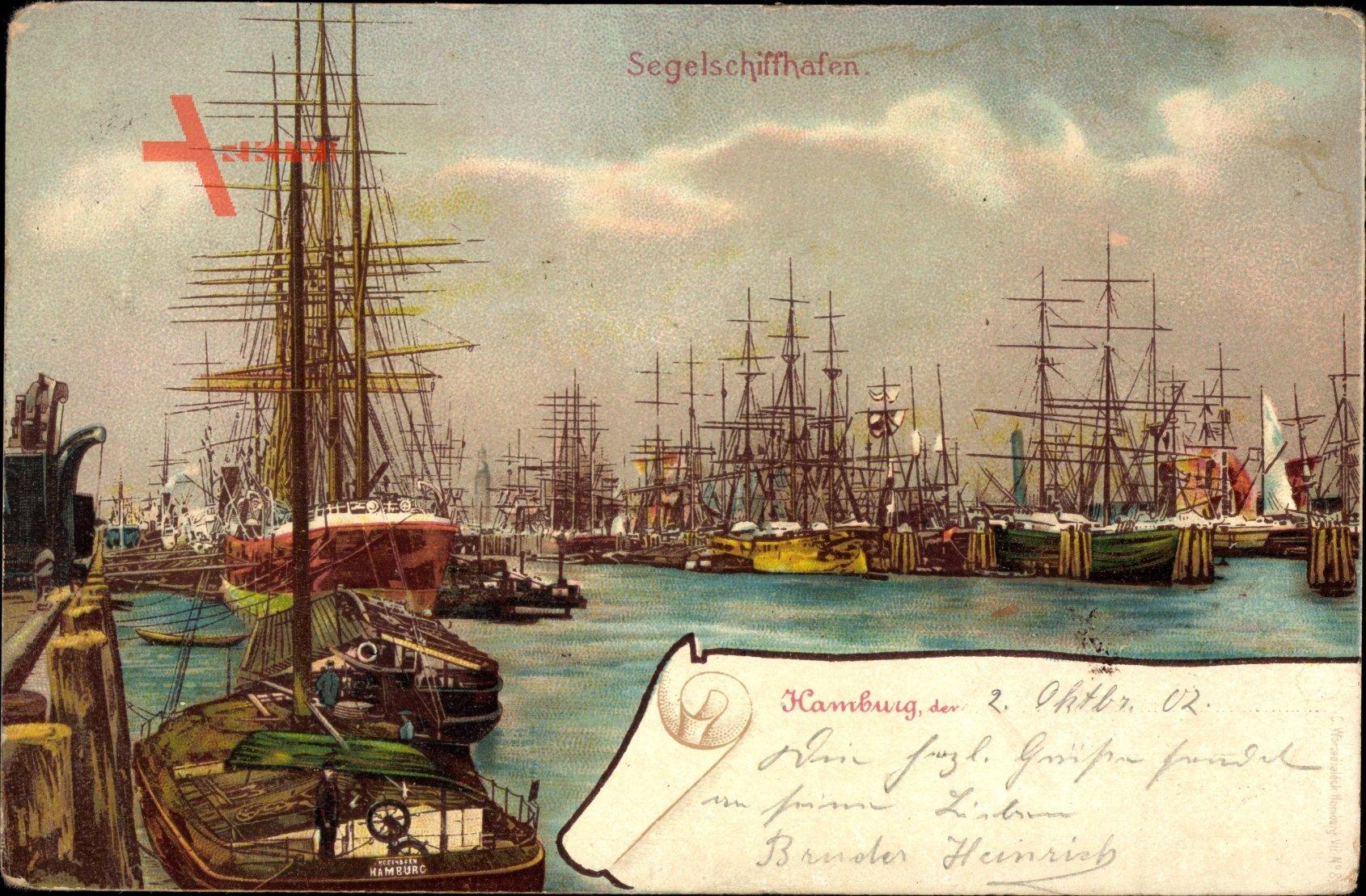 Hamburg, Blick auf den Segelschiffhafen, Segelschiffe